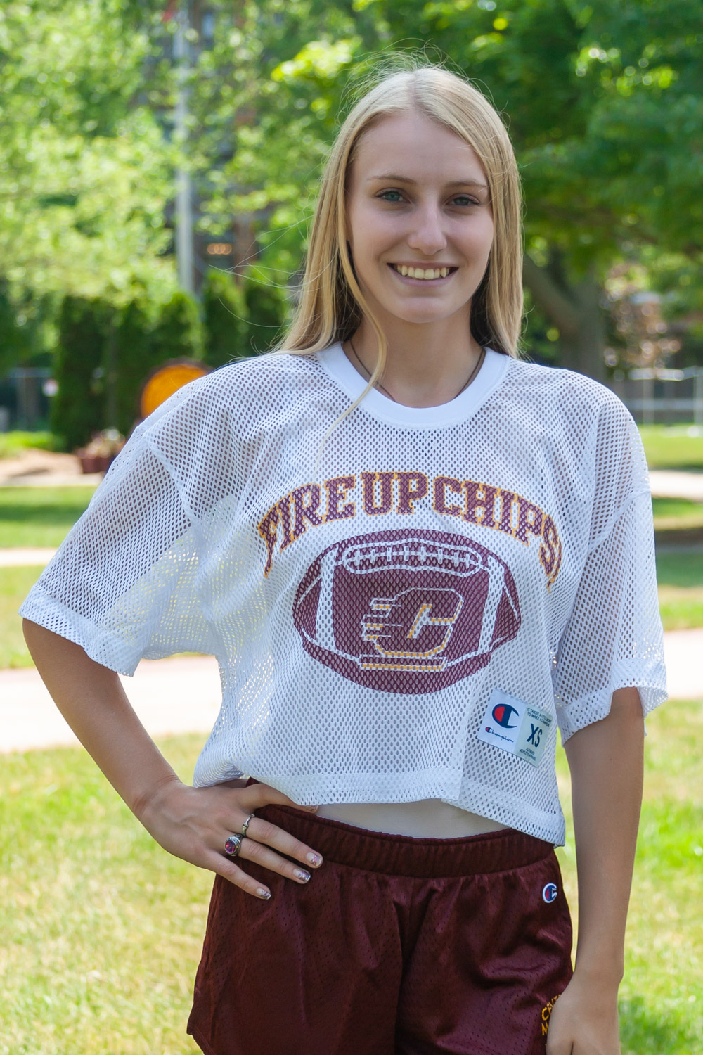 Fire Up Chips! White Crop Mesh Football Jersey<br><small>CHAMPION</small> (SKU 5042653994)