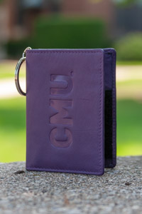 Cmu Leather Id Holder With Key Ring