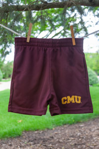 Maroon Kids Shorts with Gold CMU