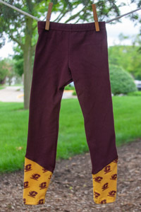 Maroon Girls Leggings with Flying C Gold Bottom