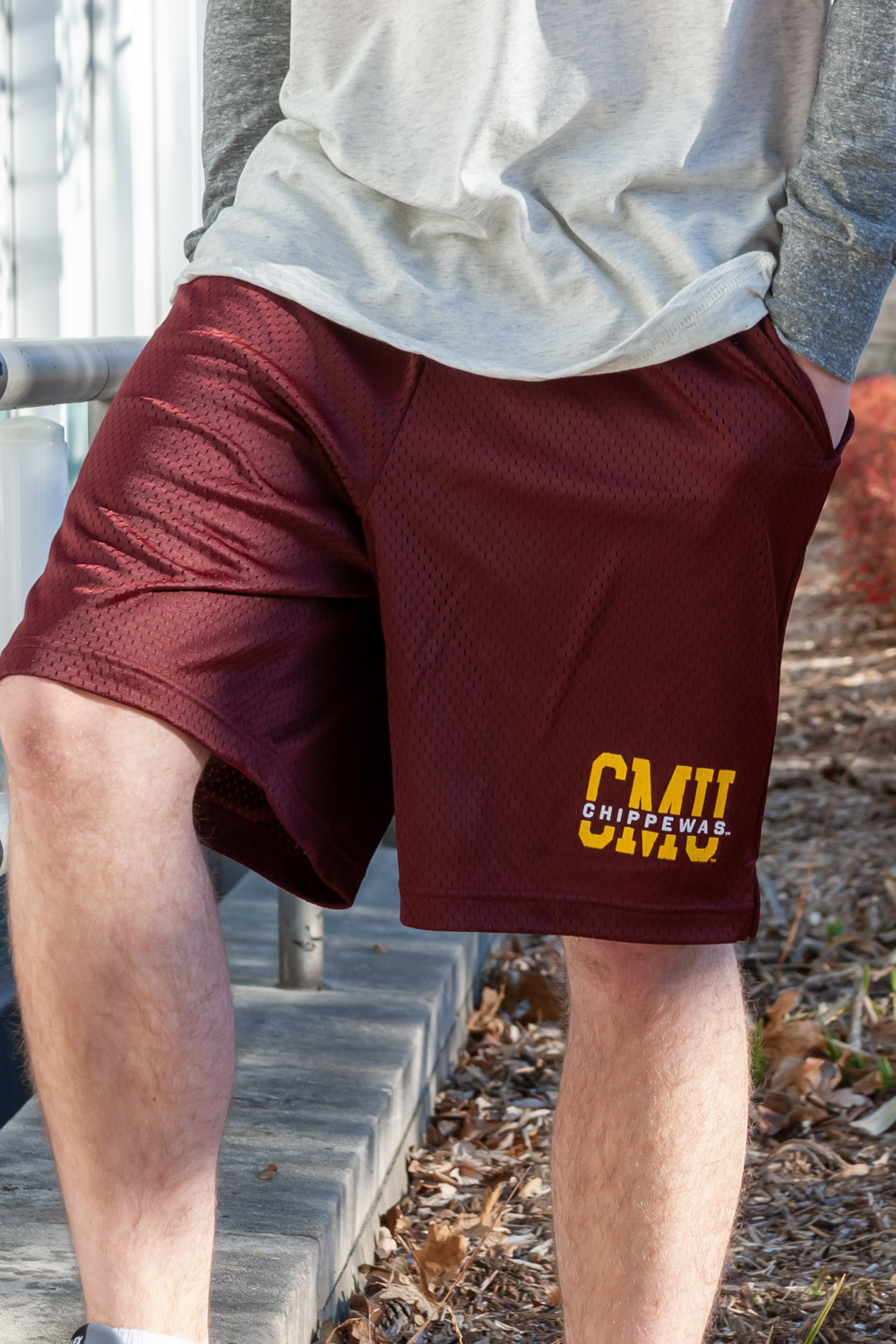 CMU Chippewas Maroon Draw String Mesh Shorts<br><small>CHAMPION</small> (SKU 5043026098)