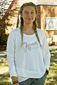 Chippewas Rose Gold Script White Women's Knit Top<br><small></small>