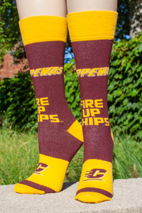 Maroon Fire Up Chips Tube Socks