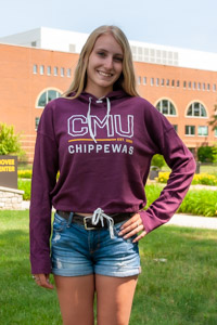 CMU Chippewas Maroon Women's Crop Pullover Hoodie<br><small>UNDER ARMOUR</small>