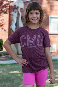 Heathered Maroon CMU Chippewas Youth T-Shirt
