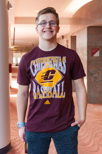 Chippewas Baseball Diamond Maroon Amplifier T-Shirt<br><small>ADIDAS</small>
