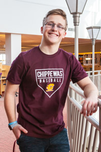 Chippewas Baseball Flying C Maroon Amplifier T-Shirt<br><small>ADIDAS</small>