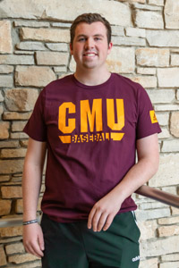 Adidas Sports CMU Baseball Maroon T-Shirt