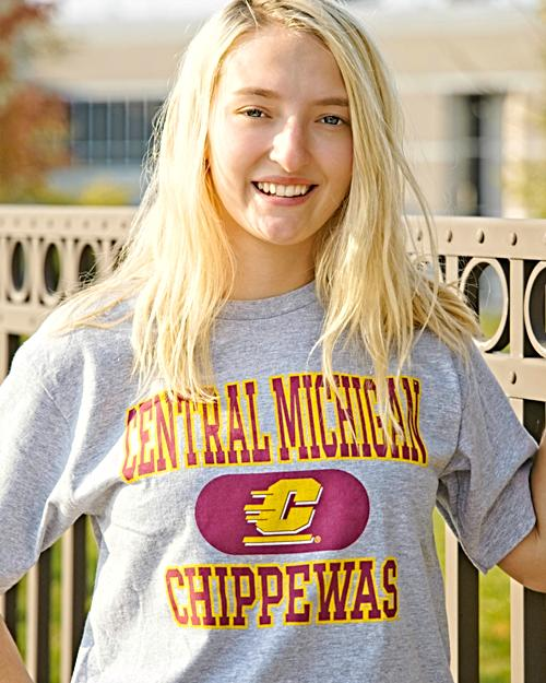Central Michigan Chippewas Heather Women's Crop T-Shirt<br><small>BLUE 84</small>