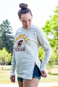 Central Michigan Oatmeal Women's Side Zip Crew<br><small>BLUE 84</small>