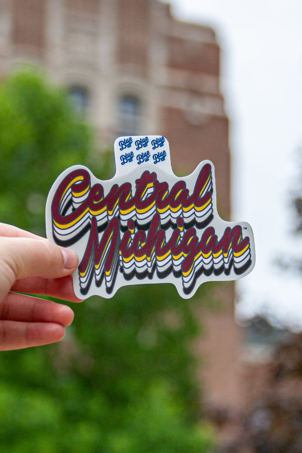 Repeating Central Michigan Script Graphic Sticker<br><small>BLUE 84</small> (SKU 5045410595)