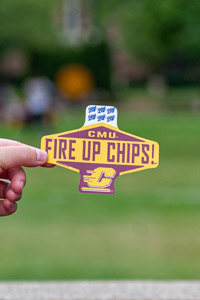 CMU Fire Up Chips! Flying C Maroon & Gold Sticker<br><small>BLUE 84</small>