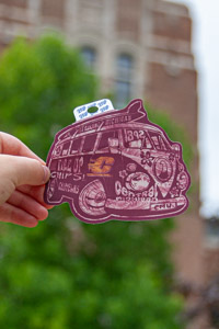 CMU Flying C Vintage VW Bus Maroon Sticker<br><small>BLUE 84</small>