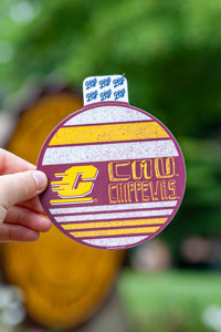 Flying C CMU Chippewas Maroon & Gold Round Sticker<br><small>BLUE 84</small>