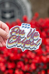 Repeating Fire Up Chips! Script Graphic Sticker<br><small>BLUE 84</small>