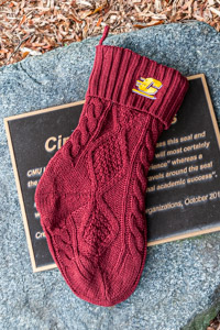 Maroon Flying C Knit Fleece-lined Stocking