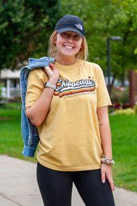 Mustard Central Michigan Chippewas Distressed Graphic T-Shirt