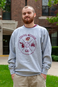 Central Michigan Circle Graphic Heather Gray Crew<br><small>BLUE 84</small>