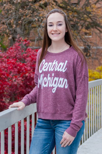 Maroon Central Michigan Ladies Cropped Cozy Crew