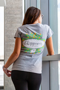 Chippewas Flying C Oxford Gray Women's V-Neck T-Shirt<br><small></small>