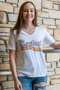 Central Michigan White Women's V-Neck T-Shirt<br><small>UNDER ARMOUR</small>