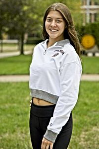 Central Michigan Flying C White Women's Cropped ¼ Zip<br><small>CHAMPION</small>