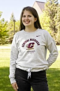 Central Michigan Flying C Gray Women's Fleece Crew<br><small>NIKE</small>