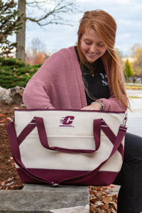 Cream & Maroon Flying C Insulated Cooler Bag