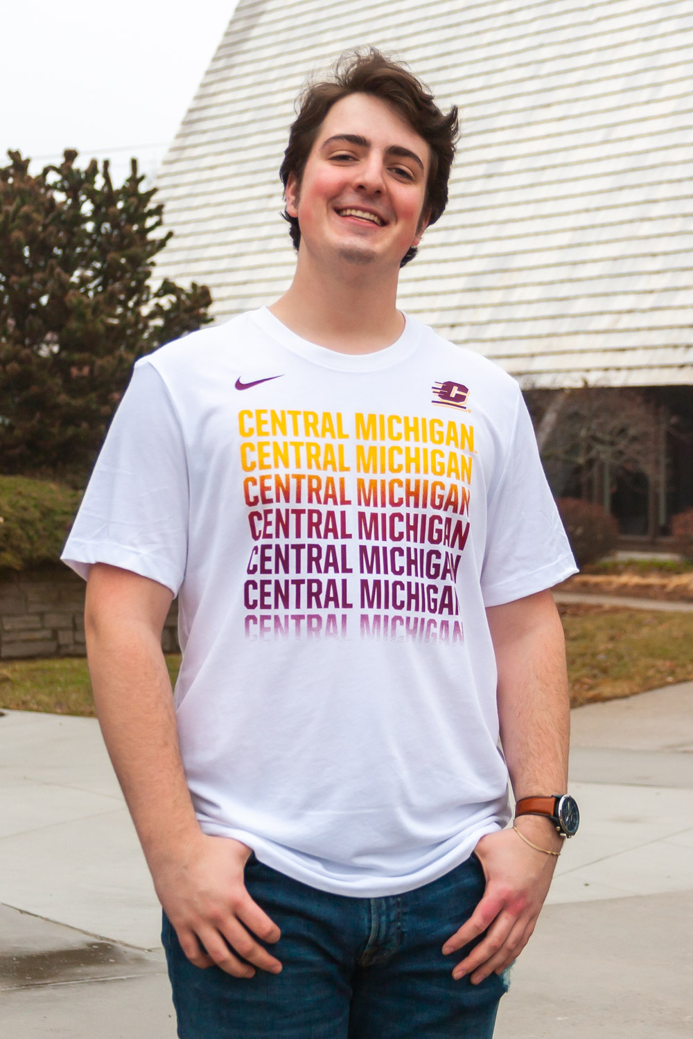 Repeating Central Michigan White Graphic T-Shirt<br><small>NIKE</small> (SKU 5046385598)