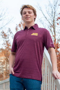 Central Michigan Deep Maroon Omni-Wick Stacked Polo<br><small>COLUMBIA</small>