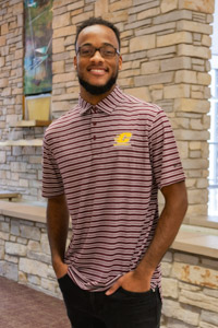 Central Michigan Striped Maroon Omni-Wick Polo<br><small>COLUMBIA</small>
