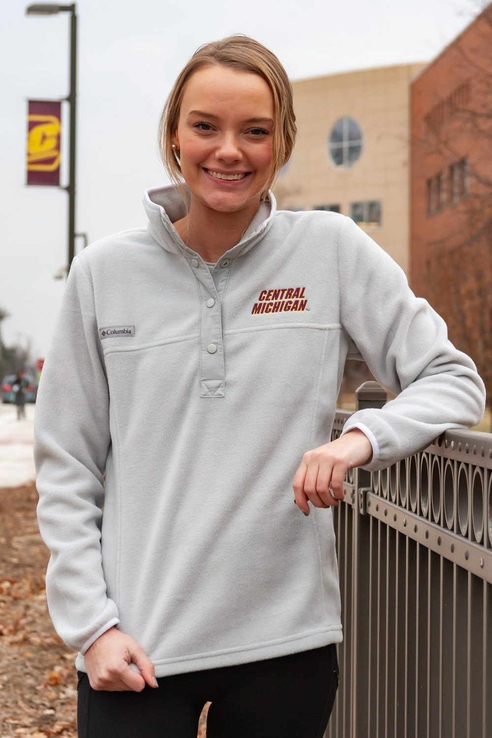 Central Michigan Cool Grey Benton Springs™ Women's ½ Snap Pullover<br><small>COLUMBIA</small> (SKU 5046447098)