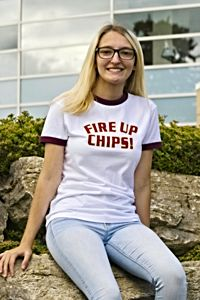 Fire Up Chips! White with Maroon Women's Ringer T-Shirt<br><small>MV SPORT</small>