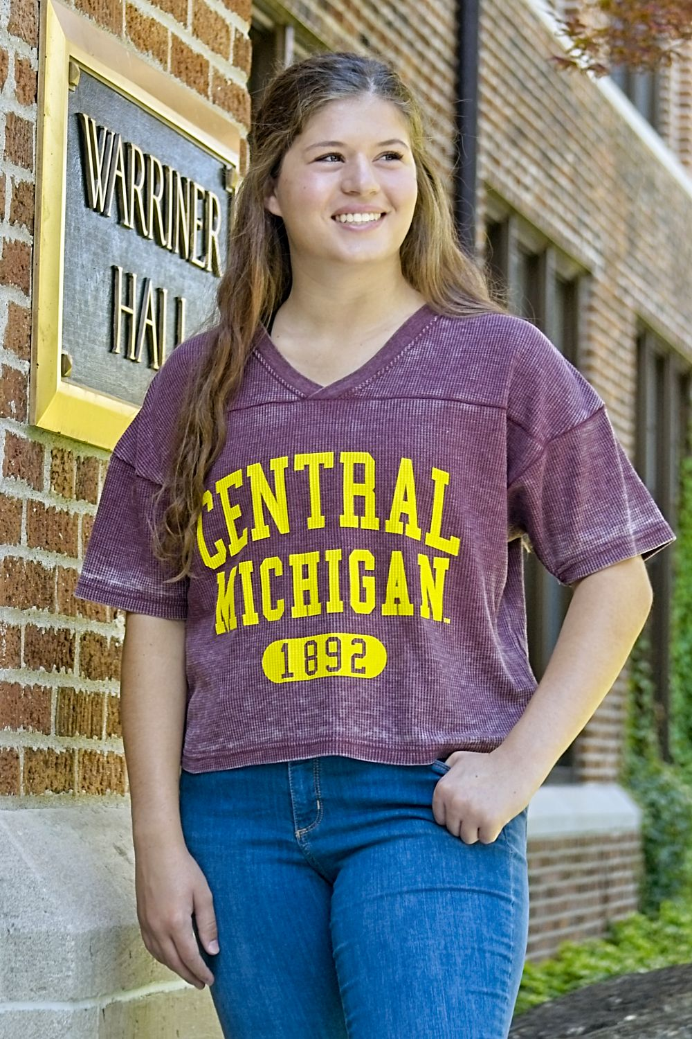 Central Michigan 1892 Maroon Women's Waffle Crop V-neck<br><small>CHICKA-D</small> (SKU 5046888198)