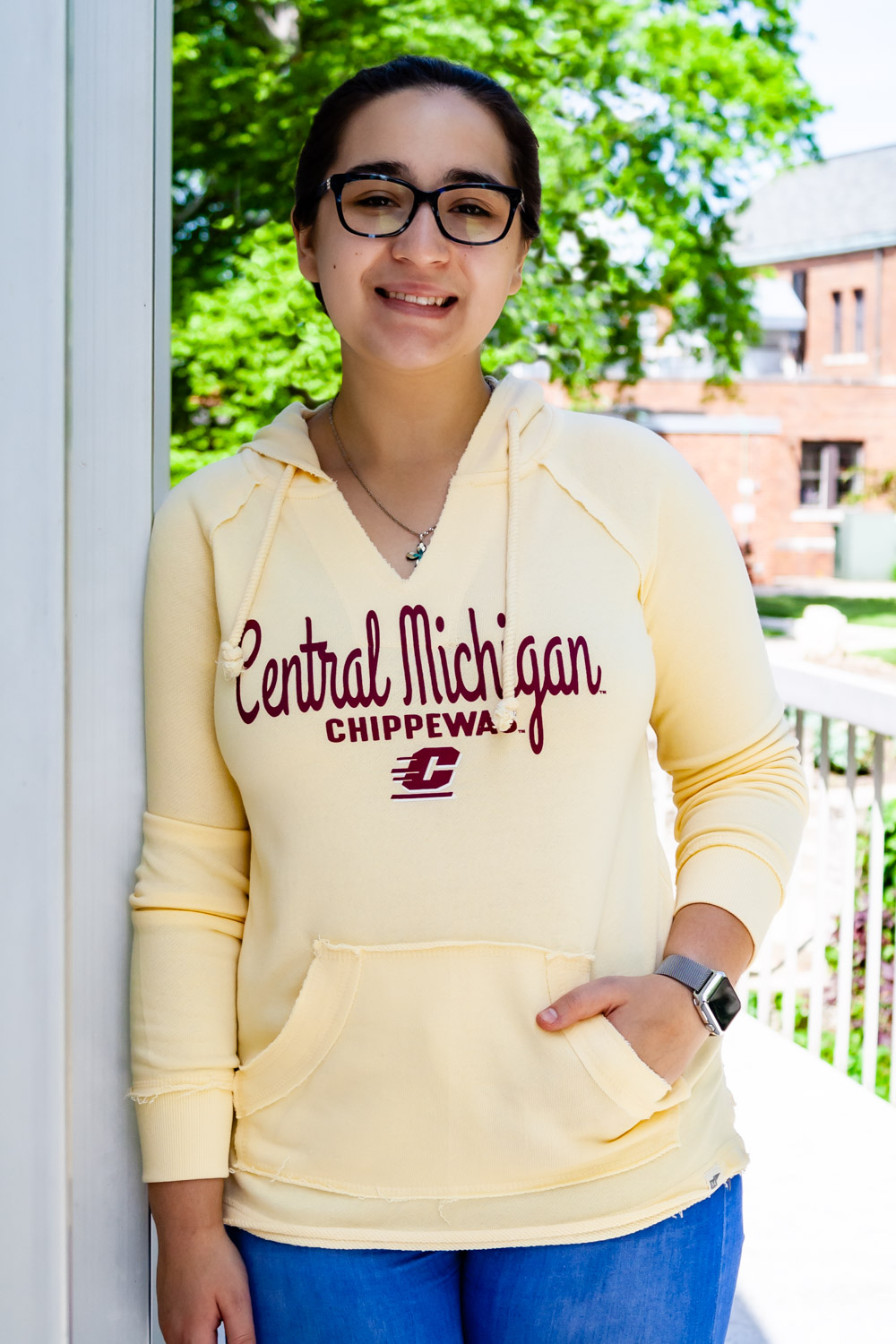 Central Michigan Script Butter Yellow Women's V-neck Hoodie<br><small>BLUE 84</small> (SKU 5047087798)