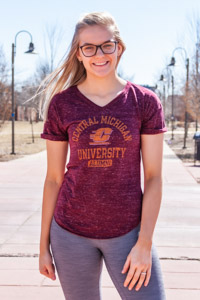 Central Michigan Alumni Maroon Women's V-Neck T-Shirt<br><small>BLUE 84</small>