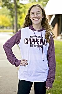Chippewas White Women's Hooded Long Sleeve T-Shirt<br><small>BLUE 84</small>