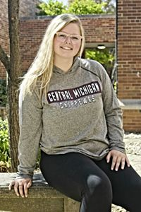 Central Michigan Chippewas Graphite Women's Hooded T-Shirt<br><small></small>