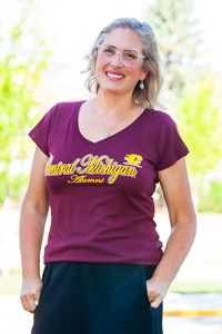 Central Michigan Alumni Maroon Women's V-Neck T-Shirt<br><small></small>