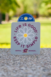 Life is Good Keep it Simple Flying C Gray Sticker<br><small>BLUE 84</small>