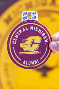 Central Michigan Alumni Flying C Maroon Round Sticker<br><small>BLUE 84</small>