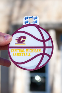 Central Michigan Basketball Flying C Maroon & Gold Sticker<br><small>BLUE 84</small>