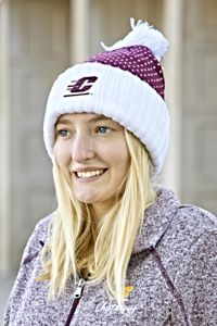 Flying C Maroon & White Knit Pom Hat