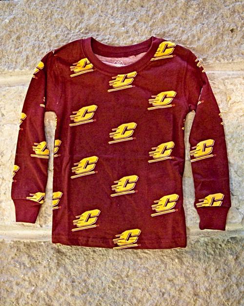 Action C Pattern Maroon Youth Lounge Pajama Set