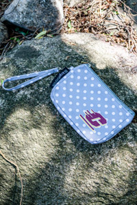 Flying C Gray & White Polka Dot Wristlet
