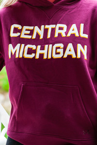 Central Michigan Block Text Maroon Women's Hoodie<br><small>UNDER ARMOUR</small>
