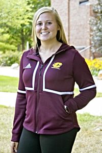 Flying C Maroon Women's Hooded Full Zip Jacket<br><small>ADIDAS</small>