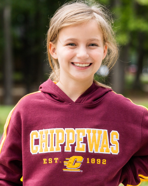 CMU Chippewas Action C Youth Maroon & Gold Hoodie<br><brand>CHAMPION</brand>