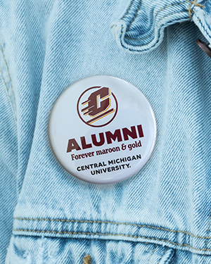 Alumni Forever Maroon & Gold White Button