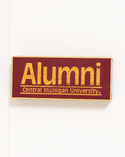 Central Michigan Alumni Maroon Wood Magnet